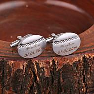 Gepersonaliseerde Gift Oval Silver Metal Gegraveerde Manchetknopen
