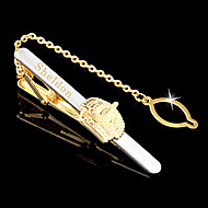 dos homens personalizados do presente do estilo coroa de metal dourado gravado empate clipe com corrente (dentro de 10 caracteres)