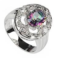 Plata 925 de la manera plateó el arco iris de cobre anillo de circonio
