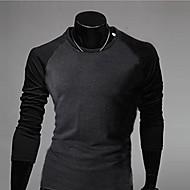 Men's Contrast Color Long Sleeve Casual T-Shirt