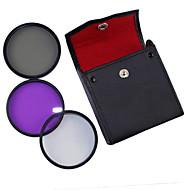 52mm UV + CPL + FLD 3-in-1-Set mit PU-Leder-Tasche