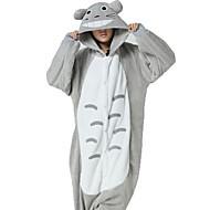 Kigurumi Piżama Kot / Totoro Trykot opinający ciało/Śpiochy dla dorosłych Halloween Animal Piżamy Biały / Szary Patchwork Coral Fleece