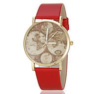 reloj de cuarzo de la venda de la PU patrón mapa de la vendimia de las mujeres (colores surtidos)