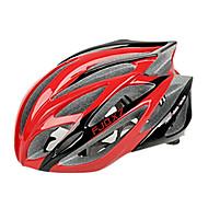 FJQXZ一体成形EPS + PCレッドサイクリングヘルメット(21ベント)