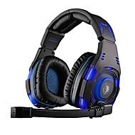 sades sa-907 hodetelefon usb gaming over øret med mikrofon og fjernkontroll for pc