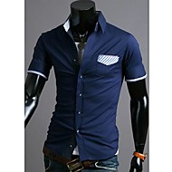 Men's Pocket Contrast Color Casual Short Sleeve Shirt