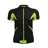 Jersey de ciclo Jaggad verano Unisex Negro Fluo Verde Poliéster Spandex posterior de la cremallera del bolsillo