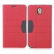 Varten Samsung Galaxy Note Korttikotelo / Tuella / Flip Etui Kokonaan peittävä Etui Yksivärinen Tekonahka Samsung Note 3