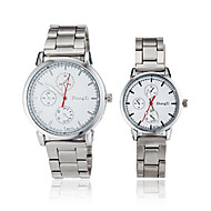 Couple's Round Dial Silver Steel Band Quartz Wrist Watch (Assorted Colors)