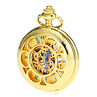 Heren Mechanisch Hollow Cover goud legering zakhorloge
