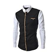 Men's Gusset Splicing Casual Long Sleeve Shirt