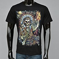 Men's Print Casual / Sport T-Shirt,Cotton Short Sleeve-Black