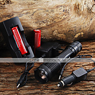 2000lm CREE XM-L T6 5-tila Zoom LED taskulamppu + 2x18650 akku + Car Charge