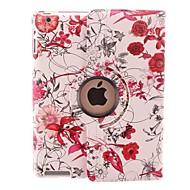 Luminos de culoare de flori de viță de vie de design de 360 grade de rotație PU piele de caz & Stand pentru iPad 2/3/4
