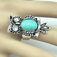 Vintage Female Owl Crystal Turquoise Adjustable Ring(Green)(1PC)