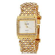 Women's Delicate Square Case Diamand Gold Steel Band Quartz Bracelet Watch (Assorted Colors)