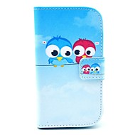 Cute Owl Pattern PU Leather Case with Card Slot and Stand for Samsung Galaxy S3 mini I8190