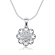 Fine Jewelry 925 Sterling Silver Jewelry Hollow Flower Pendant Necklace for Women