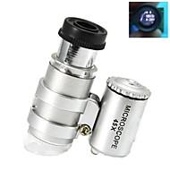 Super Mini 45X Plastic Microscope Optical Glass Lens with 2-LED Illuminating Lamps (3*LR927)