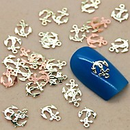 200PCS Boat Anchor Shape Metal Slice Golden Nail Art Decoration