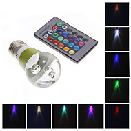 3W LED Globe Bulbs 1 High Power LED 130-160 lm RGB Remote-Controlled AC 220-240 V