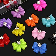100PCS Mix Color Resin Bowknot With Rhinestone Accessories Not Include Box 3D Nail Art Decoration