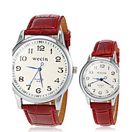 Couple's Casual Style PU Band Quartz Wrist Watch (Assorted Colors)