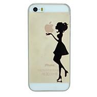 a menina, segurando o teste padrão da maçã pc caso tampa traseira duro transparente para iPhone 5 / 5s