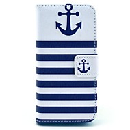 coco fun® marineblå anker mønster PU lær full body sak med skjermbeskytter for iPhone 5c