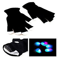 7 Mode LED Flashing Black Gloves Rave Color Change Finger Light