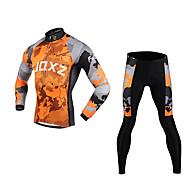 fjqxz placas continentais fino corte 3d dos homens respirável ciclismo de manga comprida terno - cinza + laranja