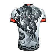 CHEJI Men 's Dragon High Quality Ultraviolet Resistant And Breathability Terylene Short Sleeve Cycling Jersey—Gray+White