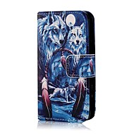 Coco fun® sininen susi kuvio PU nahka koko kehon tapauksessa näyttö suojelija, seistä ja Stylus iPhone 4 / 4s