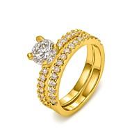 Ringe Bryllup Fest Daglig Afslappet Smykker Krystal Guldbelagt Dame Statement-ringe6 7 8 Gylden Sølv