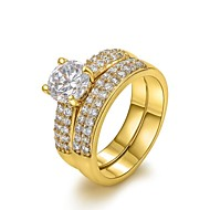 Gyűrűk Születési kövek Esküvő / Parti / Napi / Hétköznapi Ékszerek Kristály / Arannyal bevont Női Vallomás gyűrűk6 / 7 / 8Aranyozott /