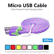 2m V8 Micro USB Tenacity Nylon Noodle Data Cable for Samsung and Other Phone (Assorted Colors)