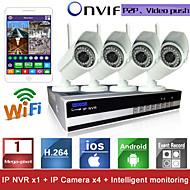 Sinocam® kit di videocamere di sorveglianza H.264, 4CH, wifi (4 pezzi, wireless 1.0MP 3.6mm, visione giorno e notte, resistente all'acqua, P2P)