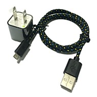 1M 3.3FT Plug Wall Charger and USB Data Cable for SamSung HTC Sony(Assorted Color)