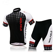 WOLFBIKE Men's Summer Mountain Bike Breathable Short Sleeve Cycling Suit-White+Black