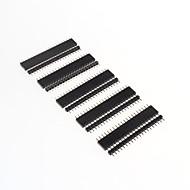 gdw AZ13 20-pin pin headers passo 2,54 milímetros - preto (10 peças)