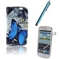 Voor Kaarthouder / Portemonnee / met standaard / Flip / Patroon hoesje Volledige behuizing hoesje Vlinder Hard PU-leer Samsung Trend Lite