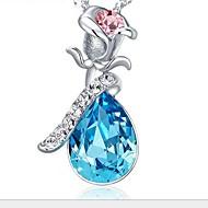 Damskie Naszyjniki z wisiorkami Kryształ Flower Shape Rose Srebro standardowe Cyrkonia Modny biżuteria kostiumowa Biżuteria Na Ślub