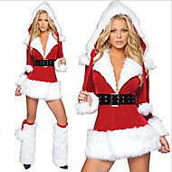 사치스러운 벨벳 산타 클로스 드레스 성인 크리스마스 여자의 의상