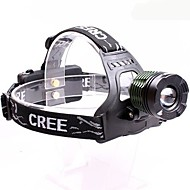 Headlamps LED 3 Mode 2000 Lumens Adjustable Focus / Waterproof / Anglehead Cree XM-L T6 18650 Multifunction - Others , Black / Green