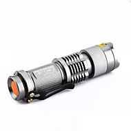 LS005 CREE Q5 300lm Mini Zoomable EDC LED Flashlight Silver(1*AA/1*14500)
