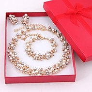 Jewelry Set Pearl Imitation Pearl Pearl Gold Plated Golden Jewelry set Wedding Party 1set Necklaces Earrings Bracelets & BanglesWedding