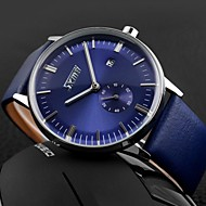Men's Business Style Second Dial Leather Band Quartz Wristwatch