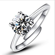 Duże pierścionki Pierścionek zaręczynowy Miłość Korygujący Modny Otwarte Klasyczny Srebro standardowe Imitacja diamentu Cztery krapy