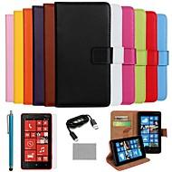 のために Nokiakケース ウォレット / カードホルダー / スタンド付き ケース フルボディー ケース ソリッドカラー ハード PUレザー Nokia