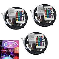 jiawen® 3pcs 5m 300x3528 SMD RGB LED bande lumineuse avec la télécommande 24key (DC12V)